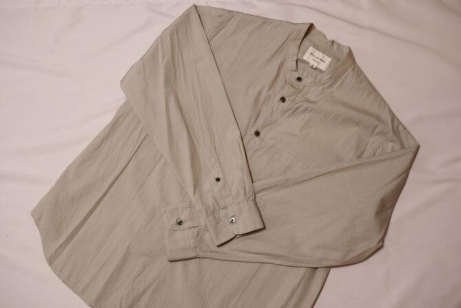 Still by handの刷毛目バンドカラーシャツ