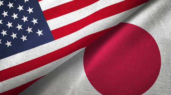 日本国旗とアメリカ国旗