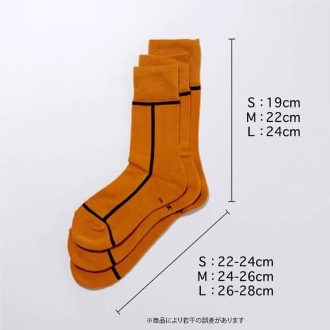シックストックの靴下のサイズ詳細