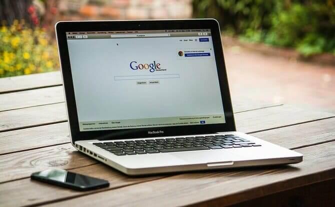 Googleの検索画面が移ったパソコン
