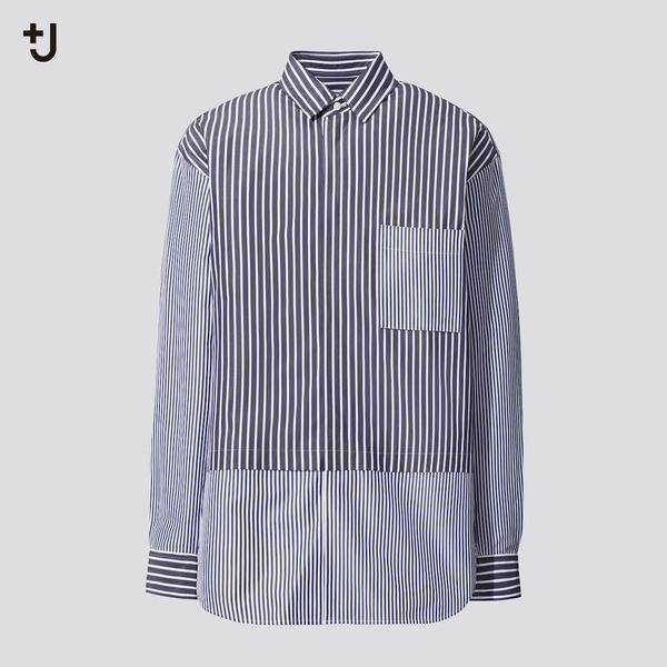 スーピマコットン オーバーサイズシャツ (長袖・ストライプ)