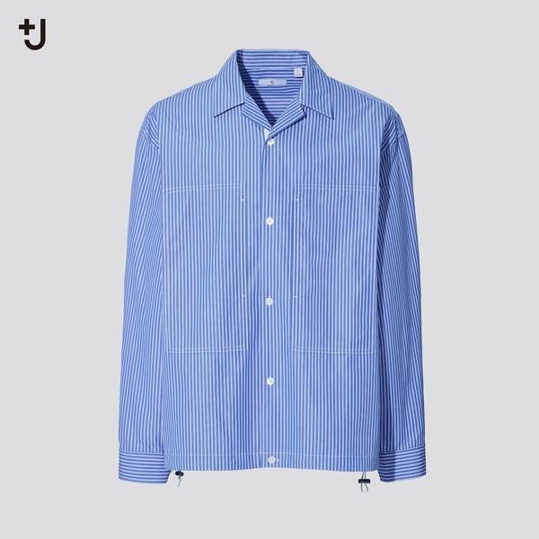 スーピマコットンオーバーサイズシャツブルゾン(長袖・ストライプ)