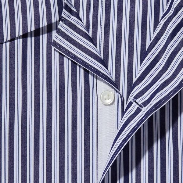 スーピマコットンオーバーサイズオープンカラーシャツ(半袖・ストライプ)